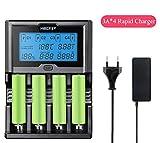 Smart Akku 18650 265650 Ladegerät 4-Slot LCD-Bildschirm 3,0A/Slot insgesamt 12A gleichzeitig für Li-Ion/IMR/INR/ICR/NI-MH/NI-Cd-Akkus(Keine Batterie im Lieferumfang enthalten)(Enthält Keine Batterie)