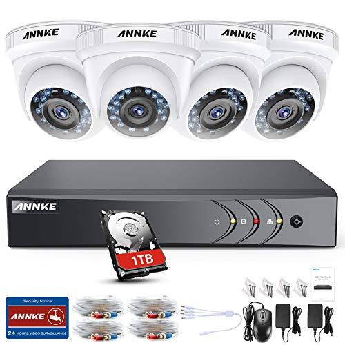ANNKE Kit Sistema de Seguridad CCTV Cámara de vigilancia Luz de estrella  4CH 3MP H 264+ DVR con 4 Cámaras 1080P IP66 Impermeable Visión nocturna