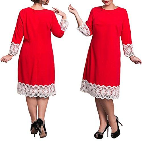 La Cabina Sexy Robe Femme Classique en Dentelle Fleur à Manches Courtes Robe Grand Taille Deux Style de Choix Femme été rouge 02