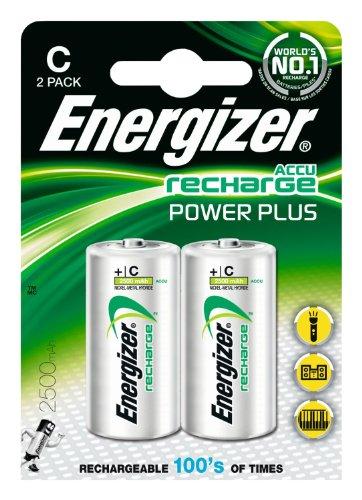 Energizer 635674 Power Plus Batteria Ricaricabile, Mezzatorcia C, Argento (2 Pezzi)