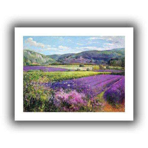 ArtWall Kunstdruck auf Leinwand, Motiv Lavendelfelder in der Alten Provence, flach, ungewickelt, 71 x 91 cm