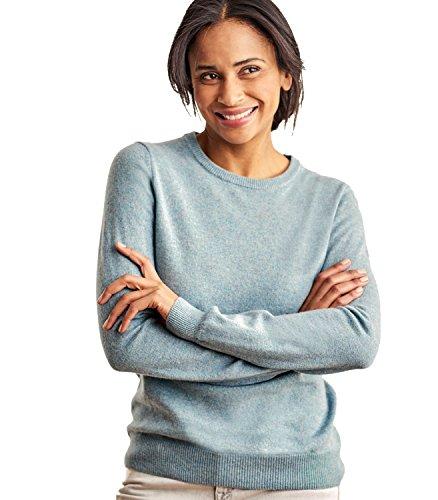 WoolOvers Pullover mit Rundhalsausschnitt aus Merinowolle-Kaschmirwolle für Damen Frosted Green, L (Wool Green Pullover)