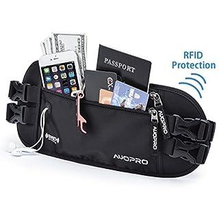 AUOPRO Travel Money Belt Waist Pack Waterproof Running Bum Bag RFID Blocking Passport Holder Pouch with Headphone Hole (Black)