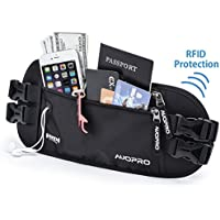 AUOPRO Travel Money Belt Waist Pack Waterproof Running Bum Bag RFID Blocking Passport Holder Pouch with Headphone Hole
