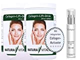 Natura Vitalis Collagen-Lift-Drink mit L-Lysin - 2x800g + Hyaluronsäure Gel (50ml)