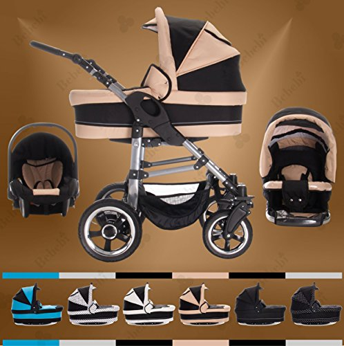 Bebebi | Modell London | 3 in 1 Kinderwagen Set | Hartgummireifen | Farbe: St. Paul's