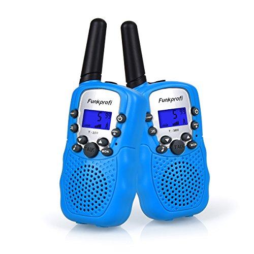 Funkprofi Walkie Talkies für Kinder, 388 Funkgeräte für Kids ab 3 Jahre PMR 446 Reichweite bis zu 3 km 8 Kanäle für Einkaufen, Freizeitpark, Zelten, Shopping, Indoor – gespräch 2 Stück Blau