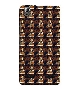 Fuson Premium Back Case Cover Cute Pattern girl With Multi Background Degined For Lenovo A6000 Plus