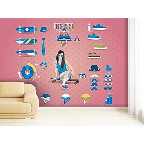Diseño de braga de chica en varios tamaños - a elegir - papel pintado para paredes o de papel pintado que libre de PVC, olor, respetuoso con el medio ambiente Impresión de látex - sin diseño de carteles de papel pintado con imagen de papel de pared de impresión de tendencia de las paredes de las, papel pintado con textura, multicolor, 420x270cm