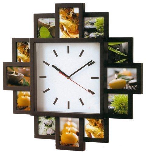 Foto Wanduhr Foto Galerieuhr für 12 Bilder mit Uhr mit schwarzen Bilderrahmen