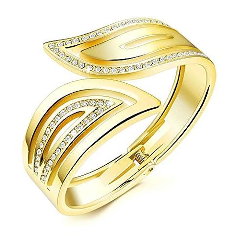 Bishiling Modeschmuck Armband Damen Legierung Blatt Zirkonia Charm Armbänder Gold