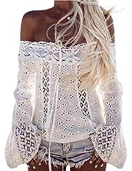 Camisetas mujer, Sannysis de hombro de Blusa suelta de encaje camiseta (XL)
