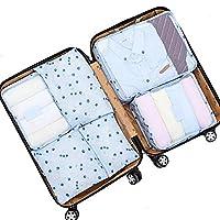 LA HAUTE 6pcs Travel Organizers Packing Cubes Luggage Organizers Compression Pouches,Blue Cherry