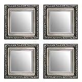 23 x 23 cm Kleine Dekorative Spiegel Paket 4 Stück Alte Spiegel, Handgefertigte, Stabiler Rückwand, Rahmenleiste: 60 mm breit und 45 mm hoch, Rahmen Farbe: Gold, Silber