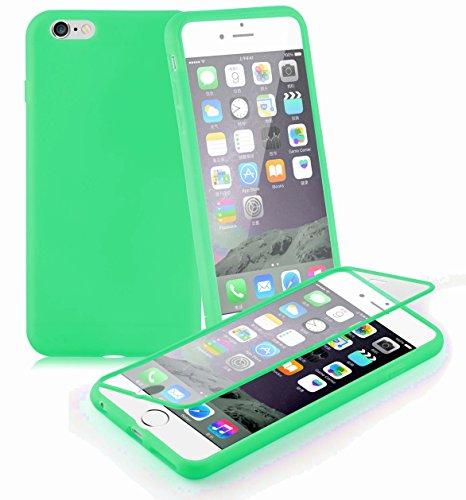 Preisvergleich Produktbild Cadorabo - TPU Silikon Schutzhülle (Full Body Rund-um-Schutz auch für das Display) für > Apple iPhone 6 PLUS / iPhone 6S PLUS < in MEER-GRÜN