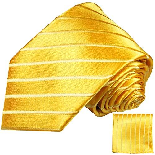 Paul Malone Gelb goldenes Krawatten Set 100% Seidenkrawatte + Einstecktuch