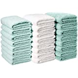 AmazonBasics Cotton Hand Towel - Pack of 24, Multi-Color (Seafoam Green, Ice Blue, White)