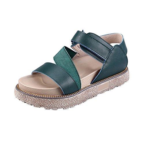 OCHENTA Femme Sandales Plateforme 4.5CM Epais Confortable Lanière Vert