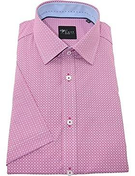 Venti Herrenhemd slimfit rotes Hemd mit Druck halbarm Kent Kragen ohne Tasche Kollektion Size 40