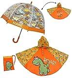 3 tlg. Set: Regenschirm + Regenponcho / Regencape - Dinosaurier - Dino - incl. Namen - Gr. 104 - 128 / 3 bis 6 Jahre - Kinderschirm transparent - Kinder Stockschirm Regenschirm - für Jungen Schirm Kinderregenschirm / Glockenschirm Dinos Urzeit