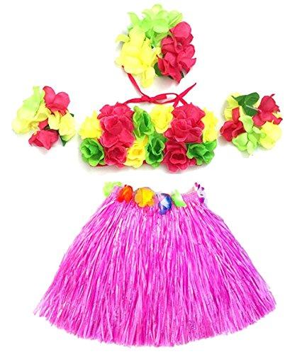 Cheerlife Kinder Mädchen Bastrock Hawaii Tanzkleid Kostüm 4er Stück Blumen Kostüm Set Armbänder, Stirnband, Top und Rock für Party Strand Karneval Fasching (Rosa)