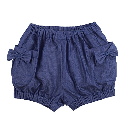 Oceankids Mädchen Denim Sommer Shorts Mit Schönen Bogen für 4-5 Jahre (Seide Bogen Tasche)