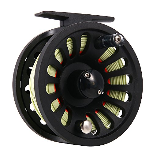 isafish mosca carrete 5/6wt con peso hacia adelante línea de pesca con mosca WF-6F con soldada Loop respaldo línea Taper líder TIPPET Combo Set, verde&anaranjado