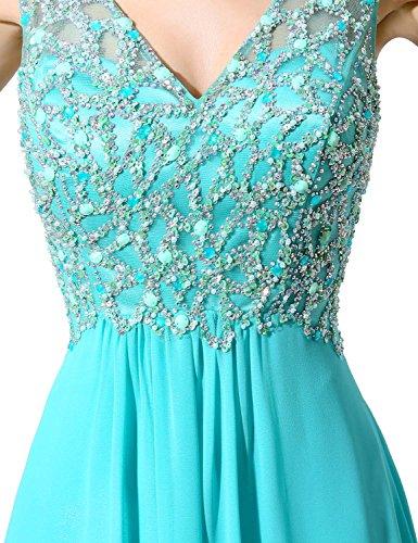 Sarahbridal Damen Lang Chiffon V-Ausschnitt Traegerkleid Paillette Ballkleid Abendkleider SLX055 Burgunderrot