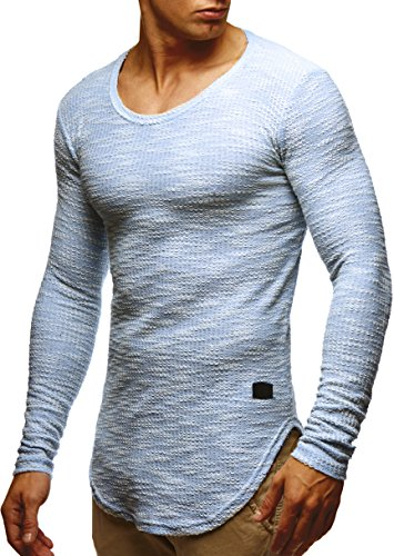 LEIF NELSON Herren Pullover Longsleeve Hoodie Basic Sweatshirt Hoodie Hoody Sweater LN6358; Grš§e XL, Blau (Baumwoll-t-shirt Jumper)