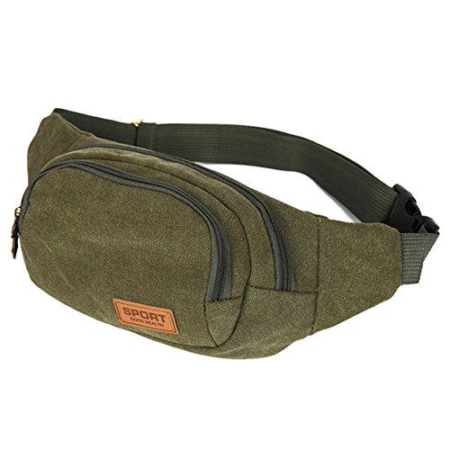hscd1976Reise Wandern Hüfttasche Fanny Pack 3Reißverschluss Taschen Outdoor Sport Bauchtasche Tasche Grün