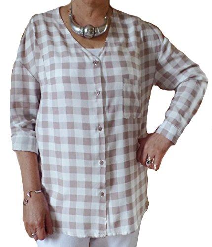 Femme Col en V à carreaux Beige Chemisier pour femme Blanc Tailles 42/46 Beige - Beige
