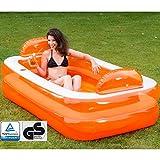 Unbekannt Relax und Genießer Pool mit Kopfstützen und Glashalterung, 195x122cm: Familienpool...