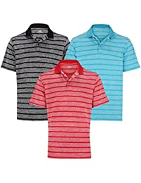 Woodworm Golf Clothes Heather Stripe Mens Polo Shirts 3 Pack