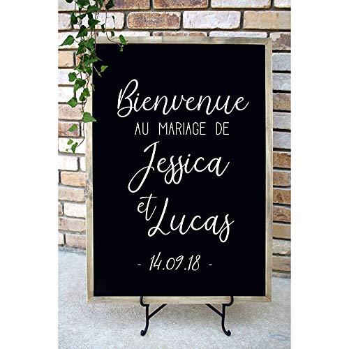 yiyiyaya Bienvenue Au Mariage De Decal Hochzeitsdekor Personalisierte Name Datum Aufkleber Französisch Hochzeit Willkommensschild Aufkleber für Bord57 * 83 cm