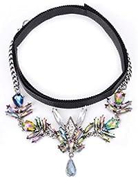 cd99080b7e83 dama Seda Costura de metal collar Multi capa diamante colgante Cadena de la  clavícula Cuello de babero Bisutería…