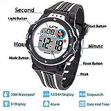 Kinder Digitaluhr,Jungen Mädchen Sport Armbanduhr Wasserdichte LED Multifunktions Armbanduhr für Kinder mit Alarm (Schwarz)