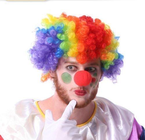 UChic 1 Satz/2 Stücke Clown Perücke und Schaum Clown Nase Kostüm Party Clown Afro Jumbo Perücke Multi farbige Kunsthaar One ()