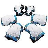 Protezioni per bambini, 6 pezzi Ginocchiere e polso Set di protezioni per bambini per pattinaggio a rotelle in linea (blu)