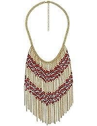 Bershka joyas dorado collar con perlas de color rojo, blanco y negro