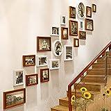 JLRQY Fotorahmen Wand Set Treppen Collage Holz Bilderrahmen Hängende Dekorative Gemälde Für Artwork Familie Korridor Gang, Sets Von 22,C