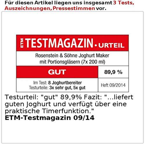 Rosenstein & Söhne Joghurt Maker mit Portionsgläsern (7 x 150 ml) - 5