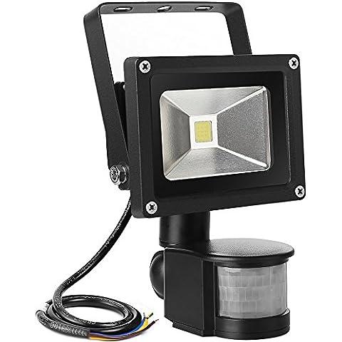 LE Foco LED con sensor Exteriores 10W = 100W Halógena, Blanco frío, Resistente al agua