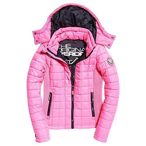 Superdry Jacke Damen HOODED BOX QUILT FUJI Fluro Hot Pink, Größe:L (Jacke Fuji)