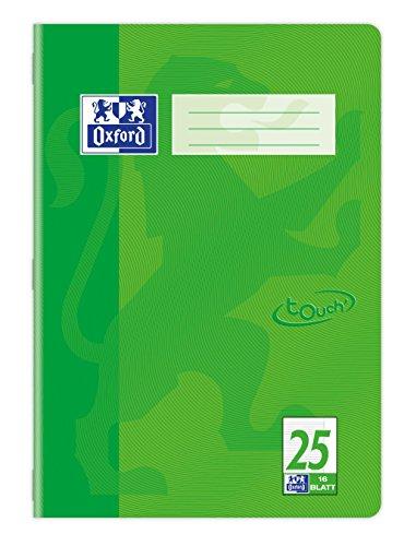 OXFORD 400104440 Schulheft Touch 15er Pack A4 16 Blatt liniert mit Rand in der Farbe Gras-grün mit abgerundeten Ecken