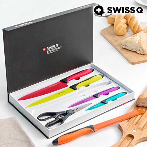 Appetitissime Swiss Q Cuchillos, Acero Inoxidable, Multicolor, 37,5 x 3,5 x 23,5 cm, 6 Unidades