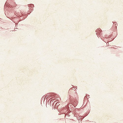 norwall-ke29931-kitchen-elements-rooster-wallpaper-red-by-norwall
