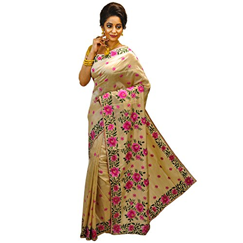 Avik Creations Floral Embroidered Traditional Handloom Latest Design Solid Woven Soft Fashion Bollywood Designer Wedding Party Wear Assam Khadi Tassar Silk Saree for Women Pink Off-White with Blouse Piece New Boutique Collection  available at amazon for Rs.1823