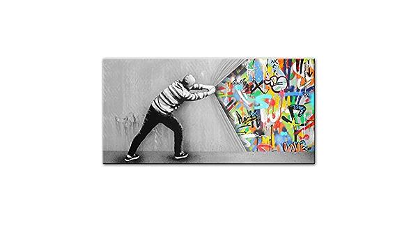 Frameless,A,45/×60cm Wall Art Hinter Dem Vorhang Leinwand-Malerei Street Art Banksy Graffiti Poster Wohnkultur HD-Wand-Kunst Bilder F/ür Wohnzimmer Drucken