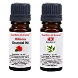 Gardens of Aroma - Hibiscus 10ml Essential Oils. Neem Essential Oil 10ml, Luxurious and Premium, High Quality, and Undiluted, Organic and Therapeutic Grade - Exceptional Choice for Aromatherapy, Massage and Aroma Diffusers - Suitable for All Skin Types - Use for Hair Care and Skin Care.