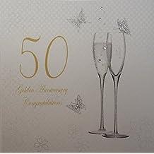 White Cotton Cards - Biglietto di auguri di 50° anniversario, nozze d'oro, motivo: calici da champagne [in lingua inglese]